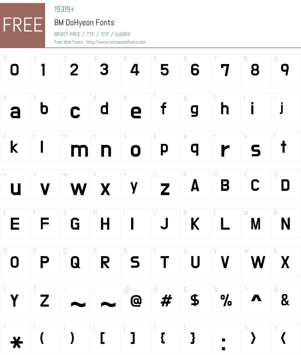 BM DoHyeon Font Screenshots