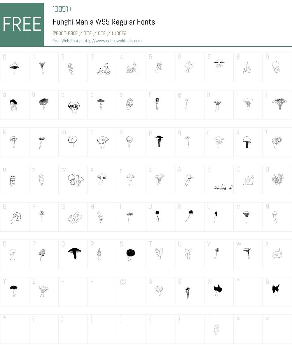 FunghiManiaW95-Regular Font Screenshots