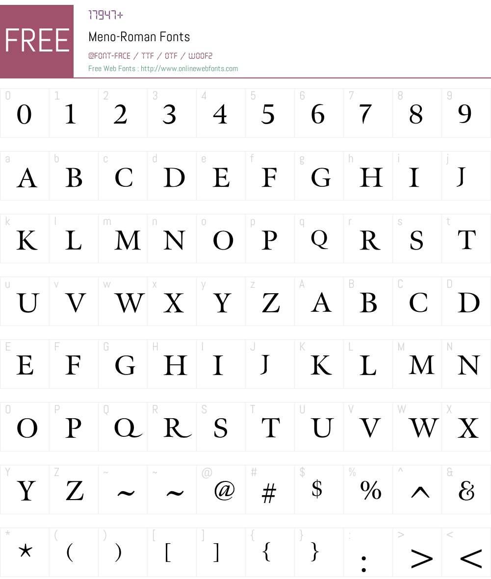 Meno Font Screenshots