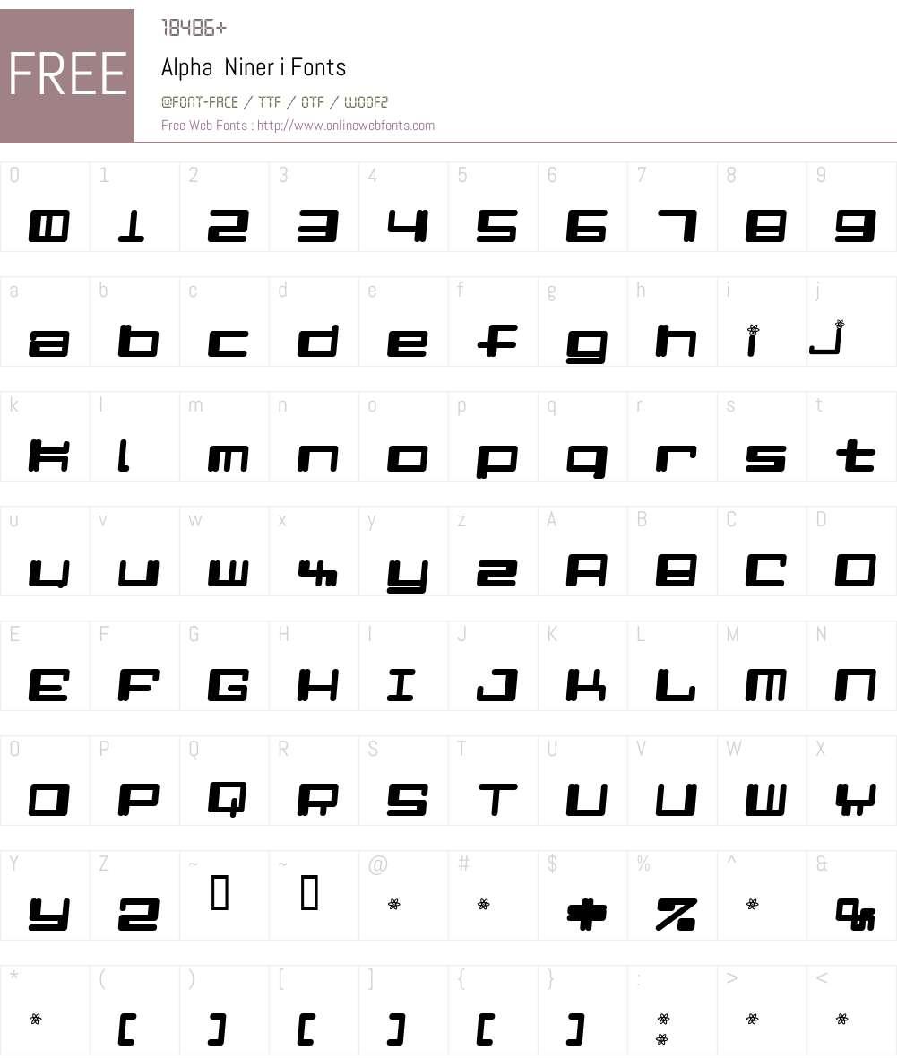 Alpha  Niner i Font Screenshots