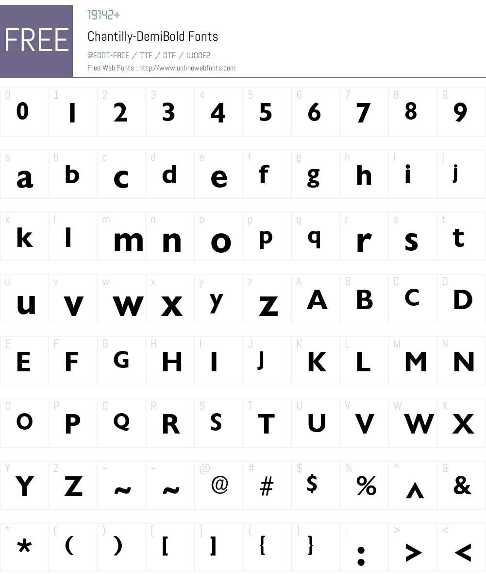 Chantilly-DemiBold Font Screenshots