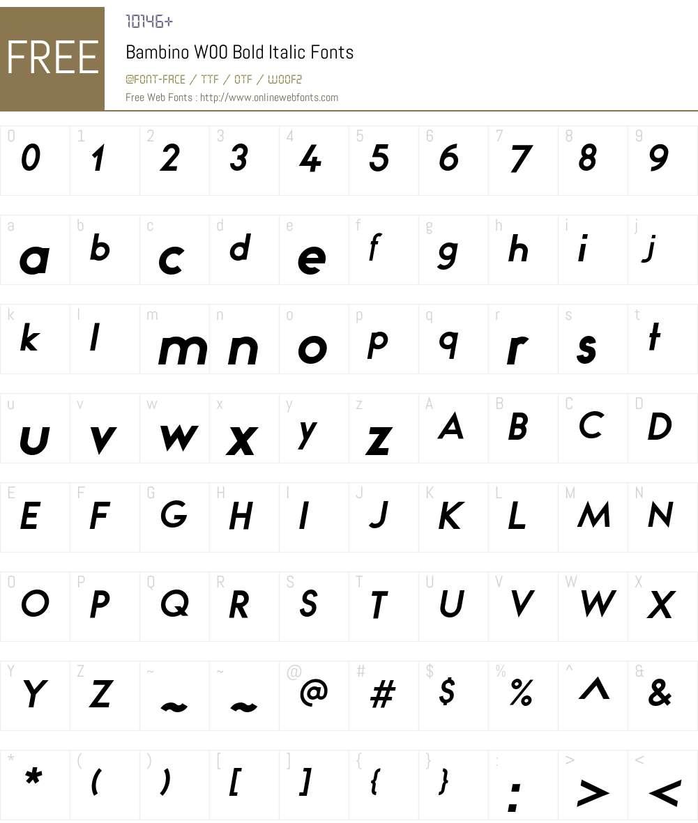 BambinoW00-BoldItalic Font Screenshots