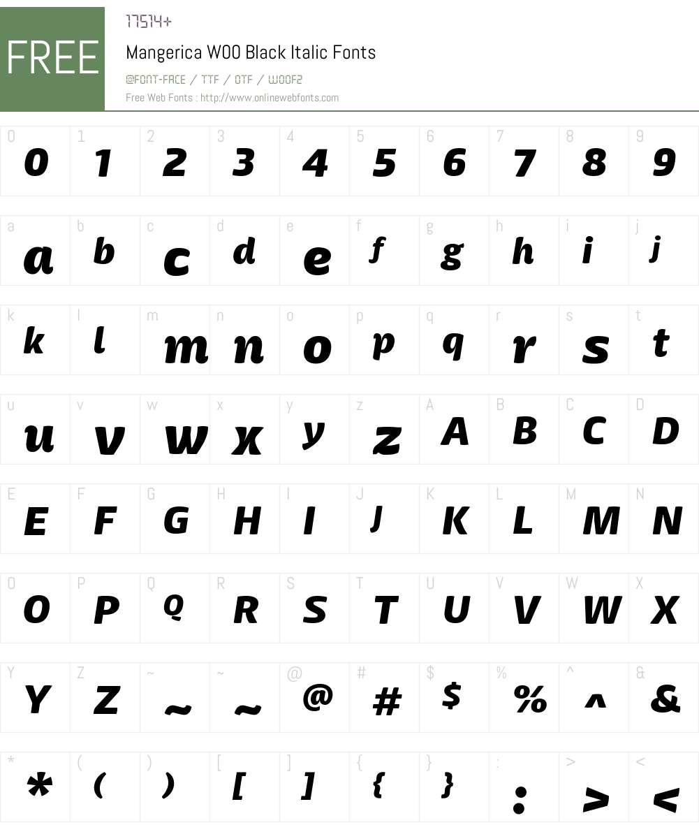 MangericaW00-BlackItalic Font Screenshots