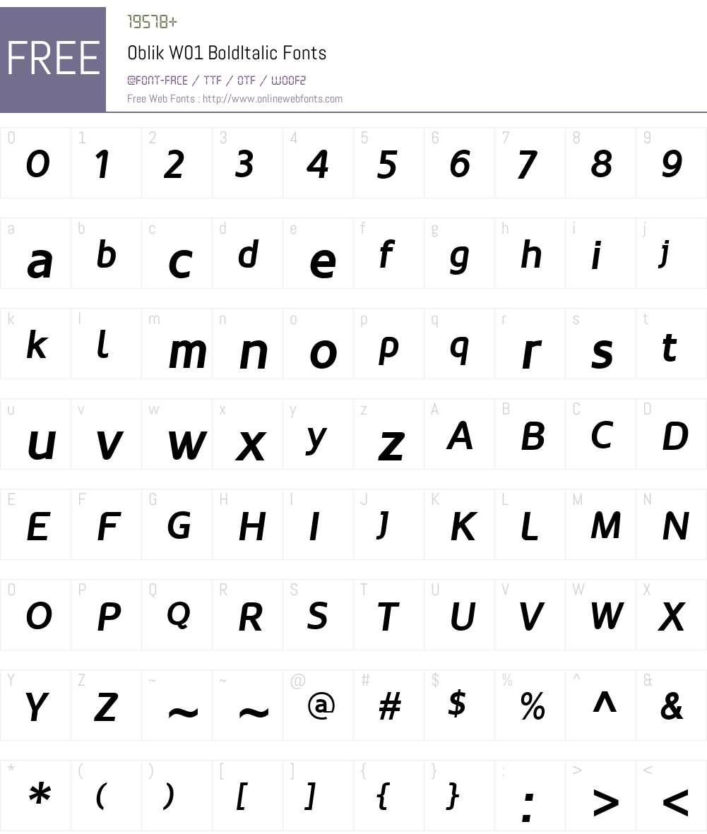 OblikW01-BoldItalic Font Screenshots