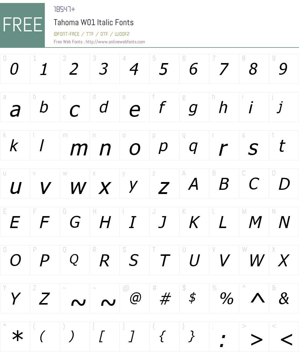 TahomaW01-Italic Font Screenshots