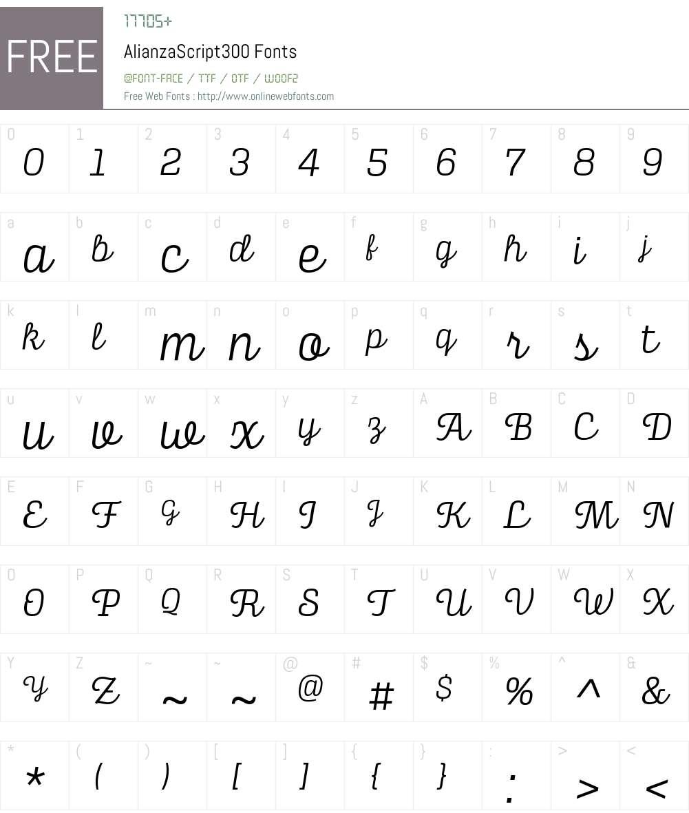 Alianza Script 300 Font Screenshots