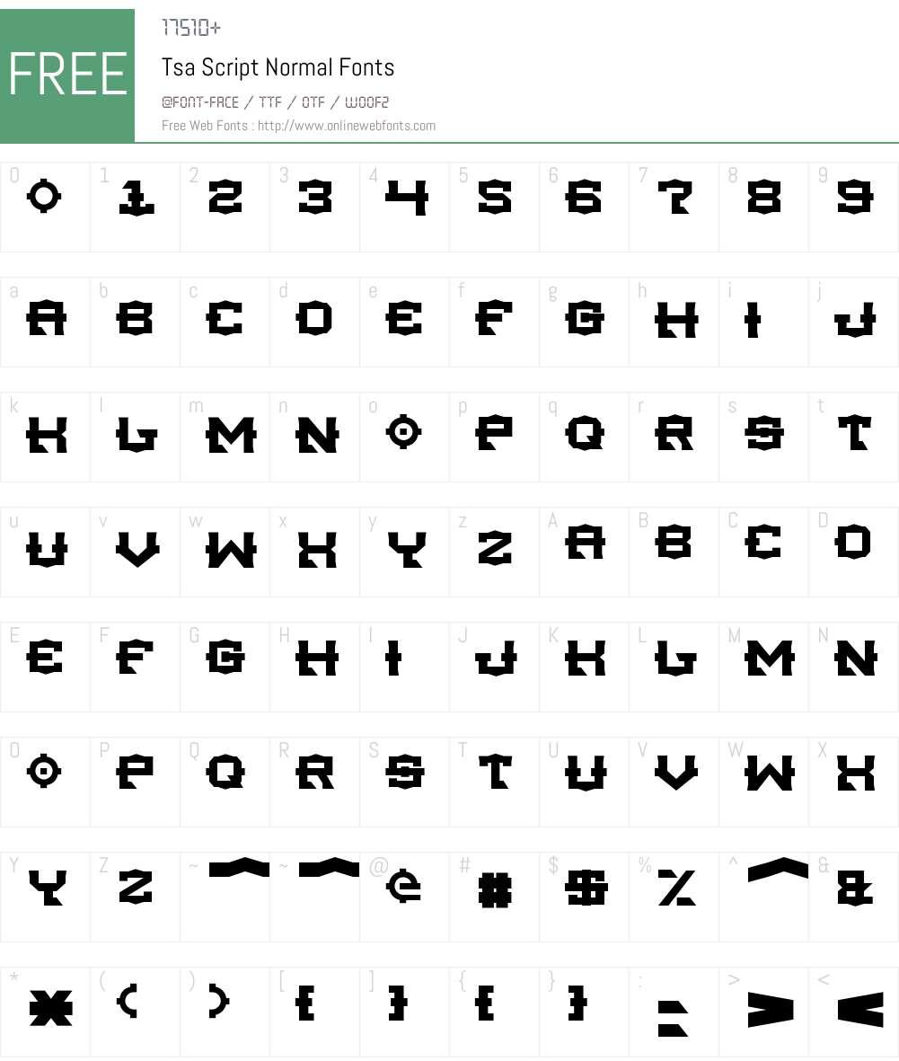 Tsa Script Font Screenshots