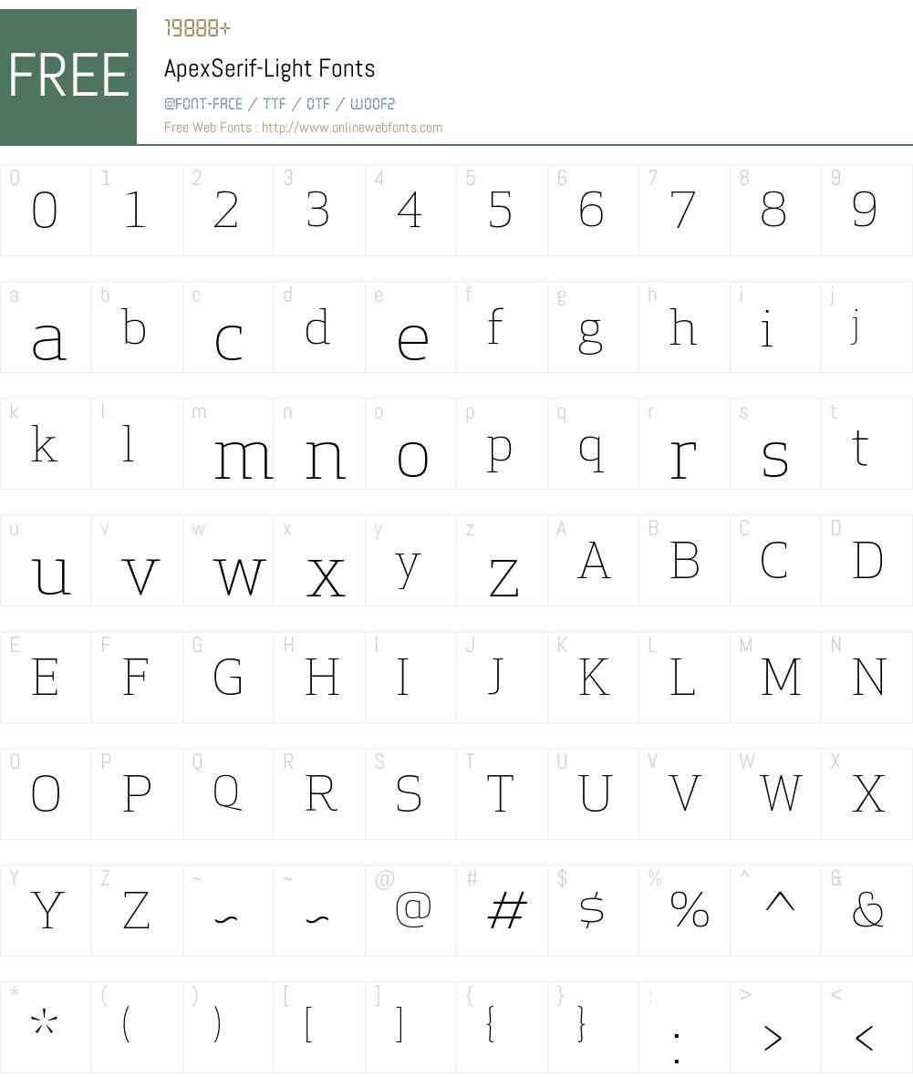 Apex Serif Light Font Screenshots