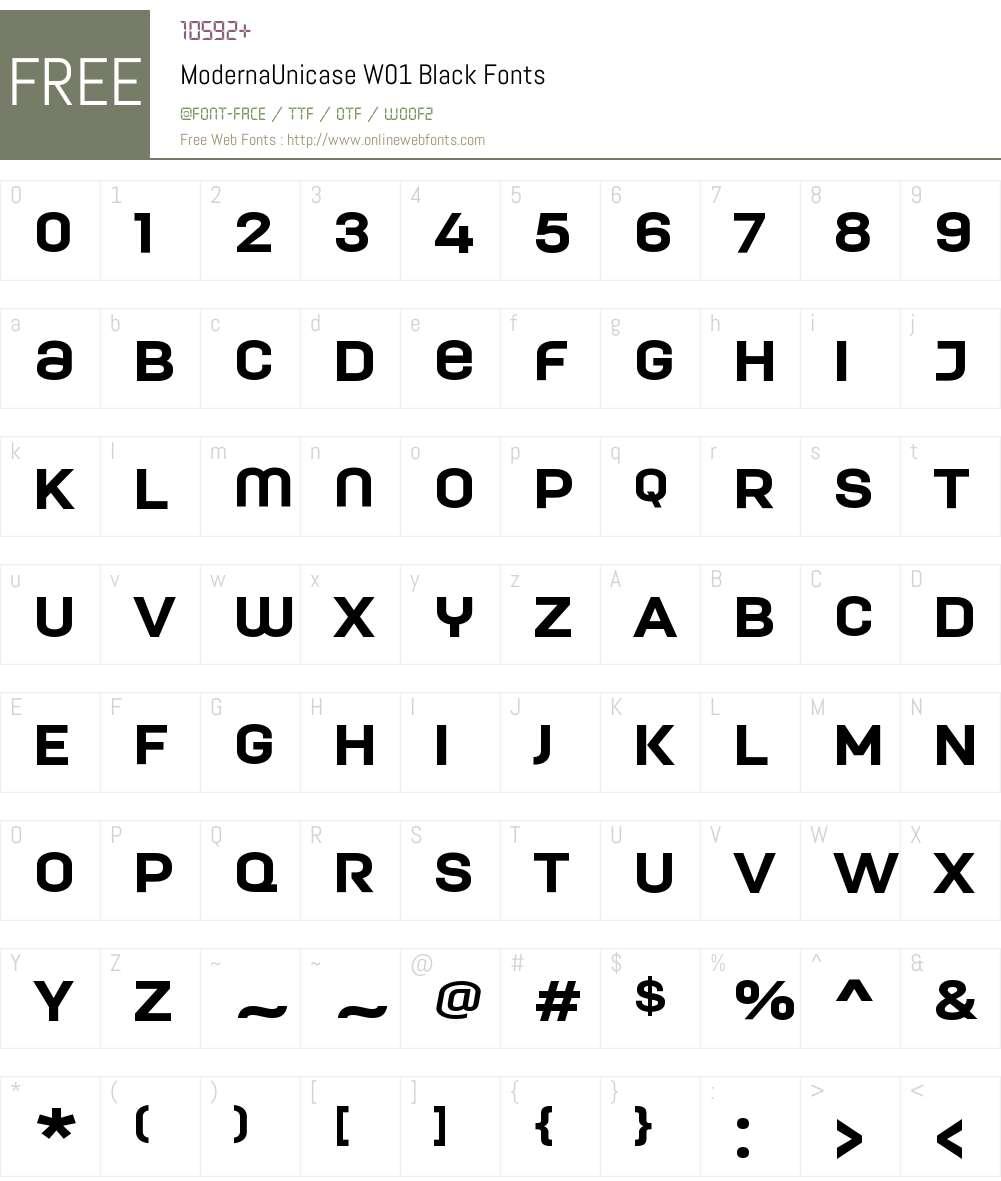 ModernaUnicaseW01-Black Font Screenshots