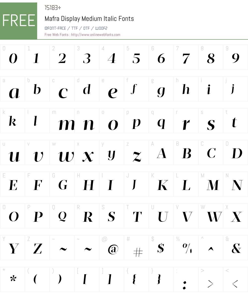 Mafra Display Medium Italic Font Screenshots