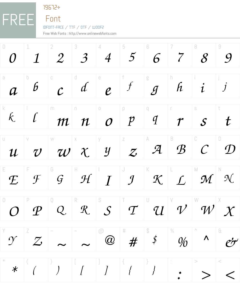 Chancery Script Medium SSi Font Screenshots