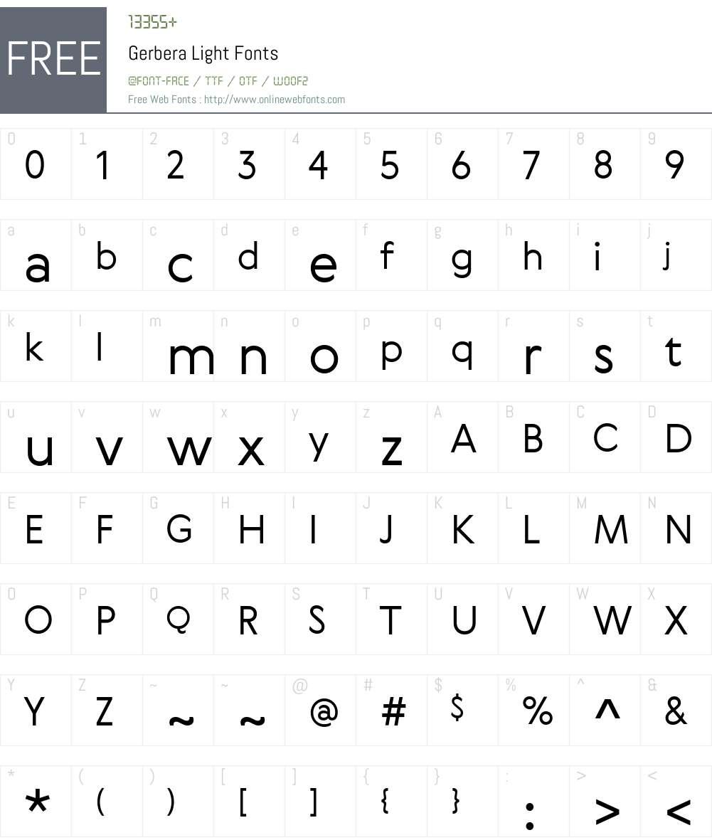 Gerbera Light Font Screenshots