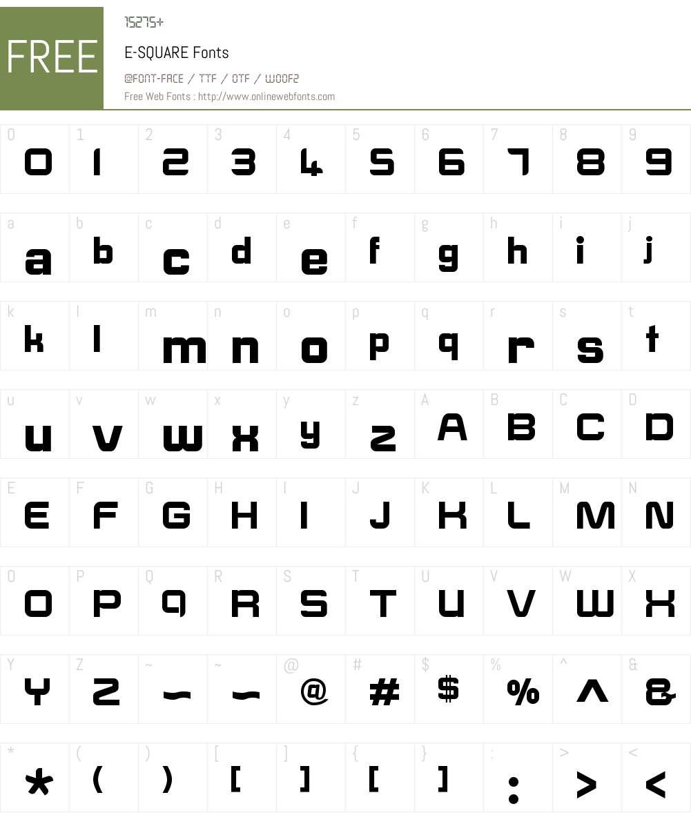 E-SQUARE Font Screenshots