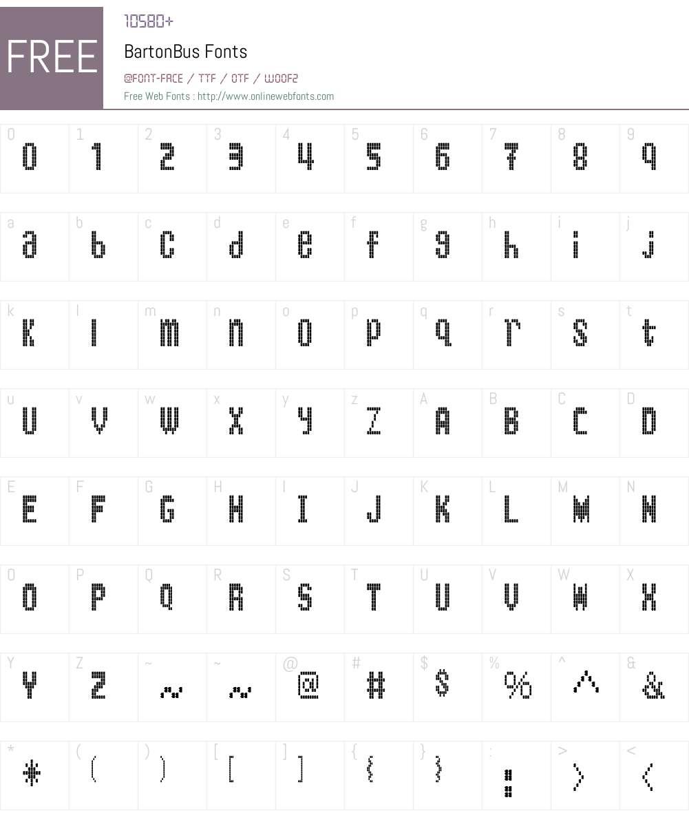 BartonBus Font Screenshots