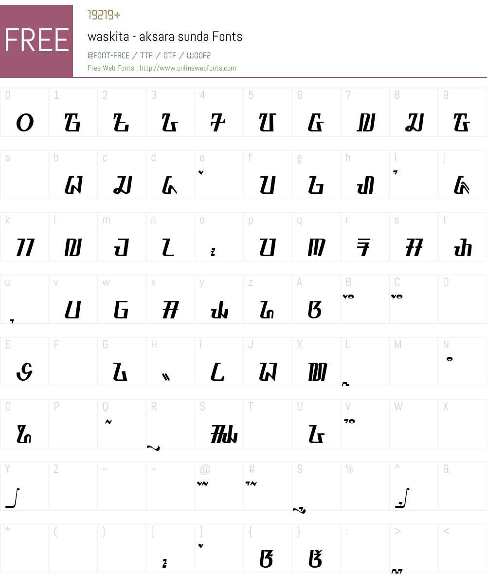 waskita - aksara sunda Font Screenshots