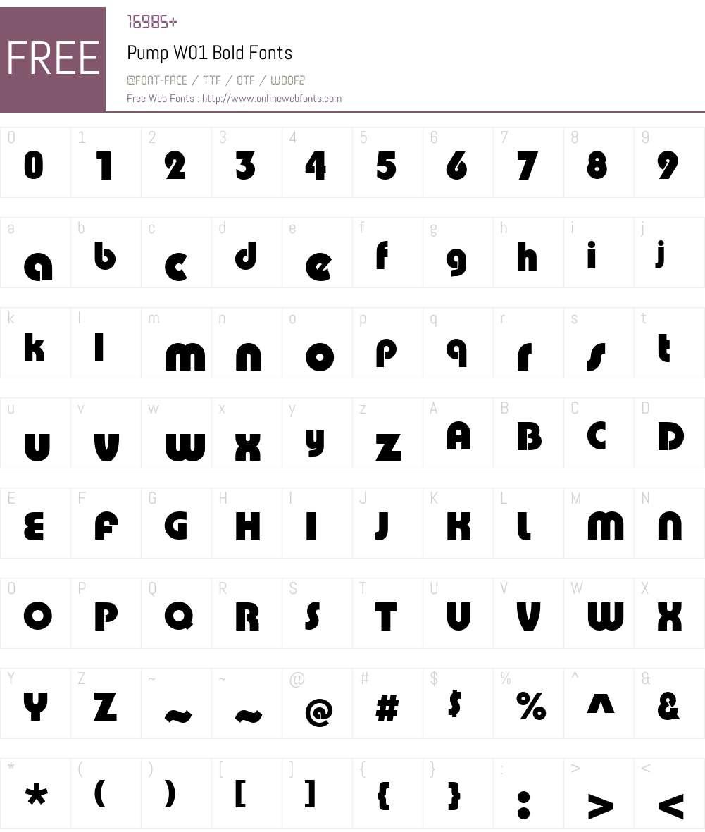 PumpW01-Bold Font Screenshots