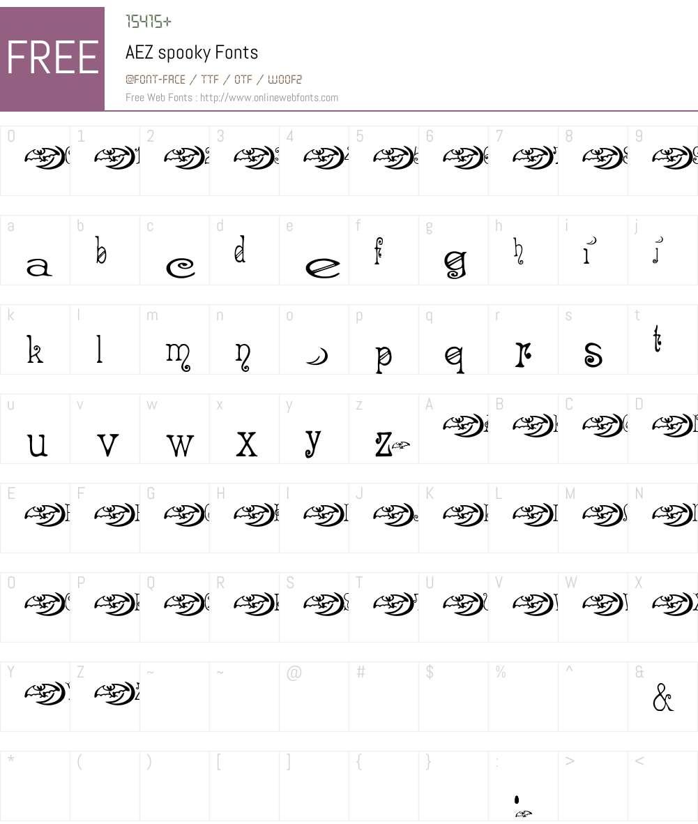 AEZ spooky Font Screenshots