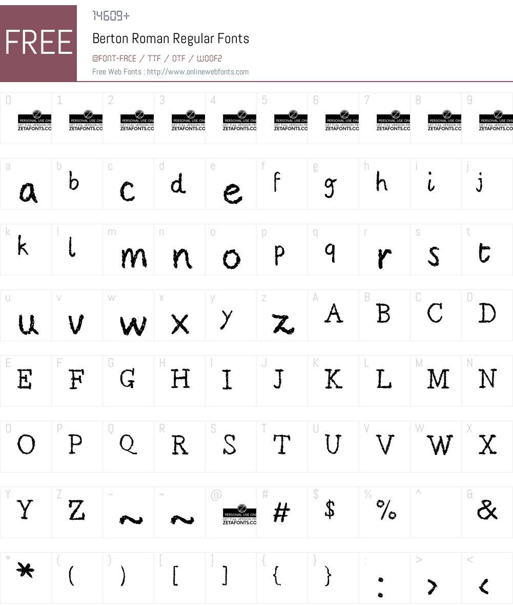 Berton Roman Font Screenshots