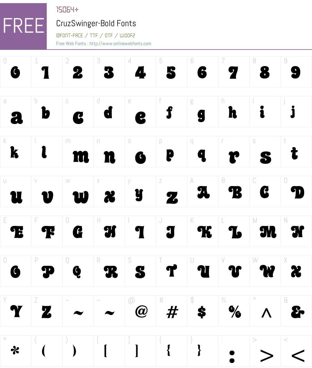 CruzSwinger-Bold Font Screenshots