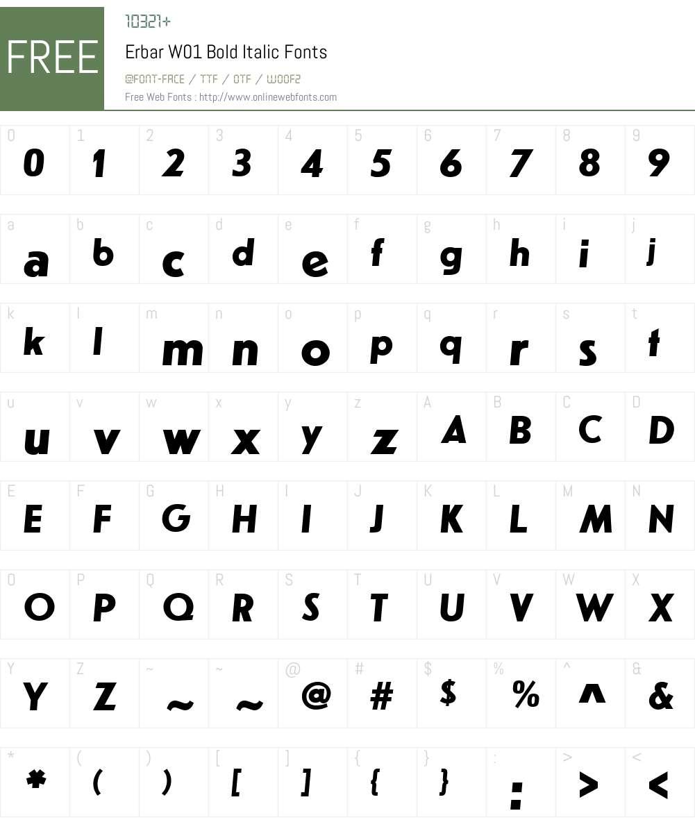 ErbarW01-BoldItalic Font Screenshots