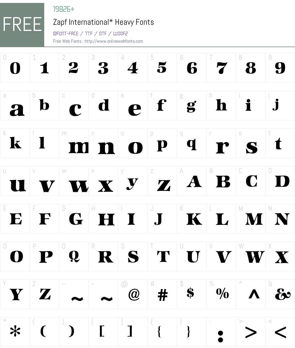 Zapf International BQ Font Screenshots