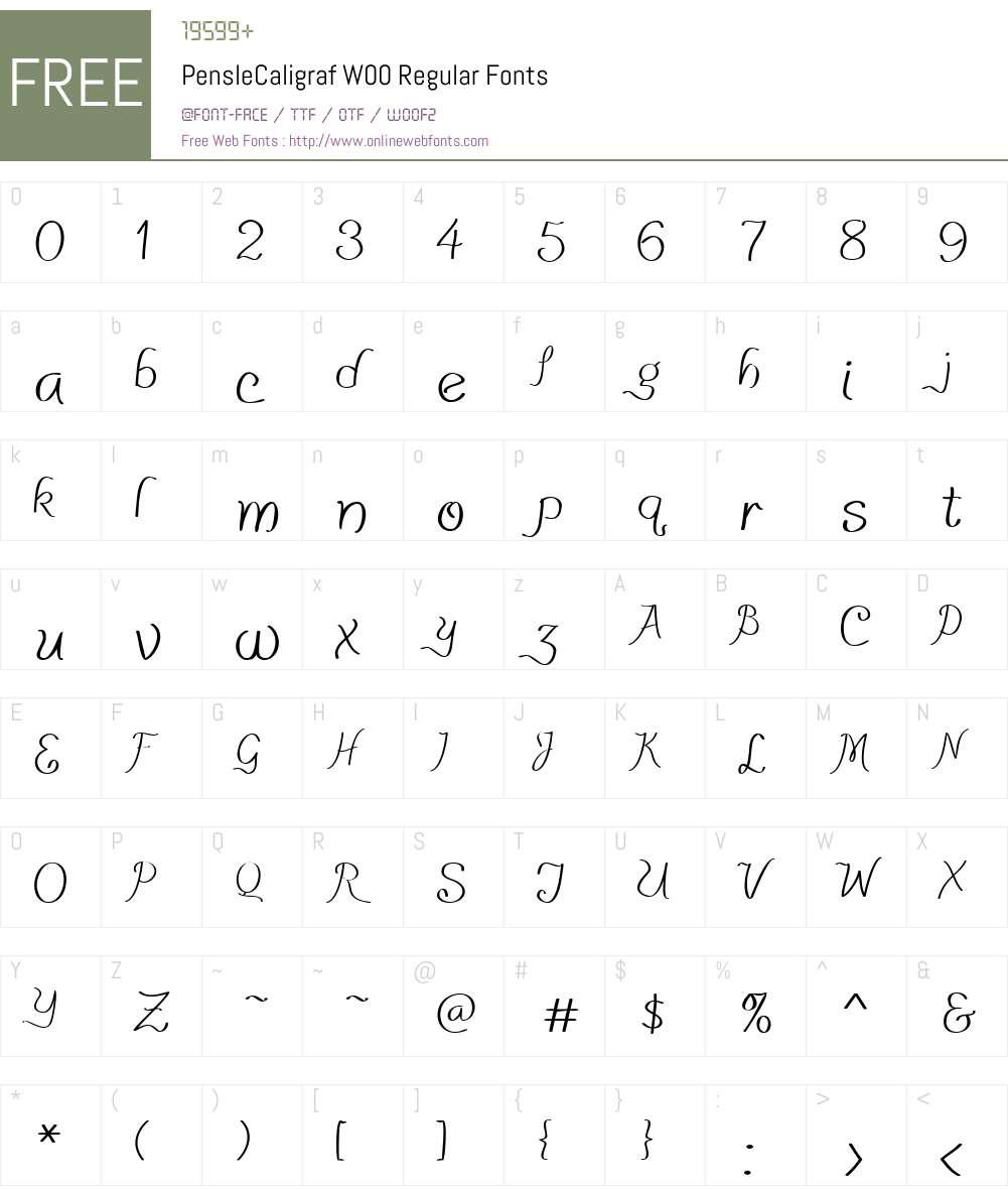 PensleCaligrafW00-Regular Font Screenshots