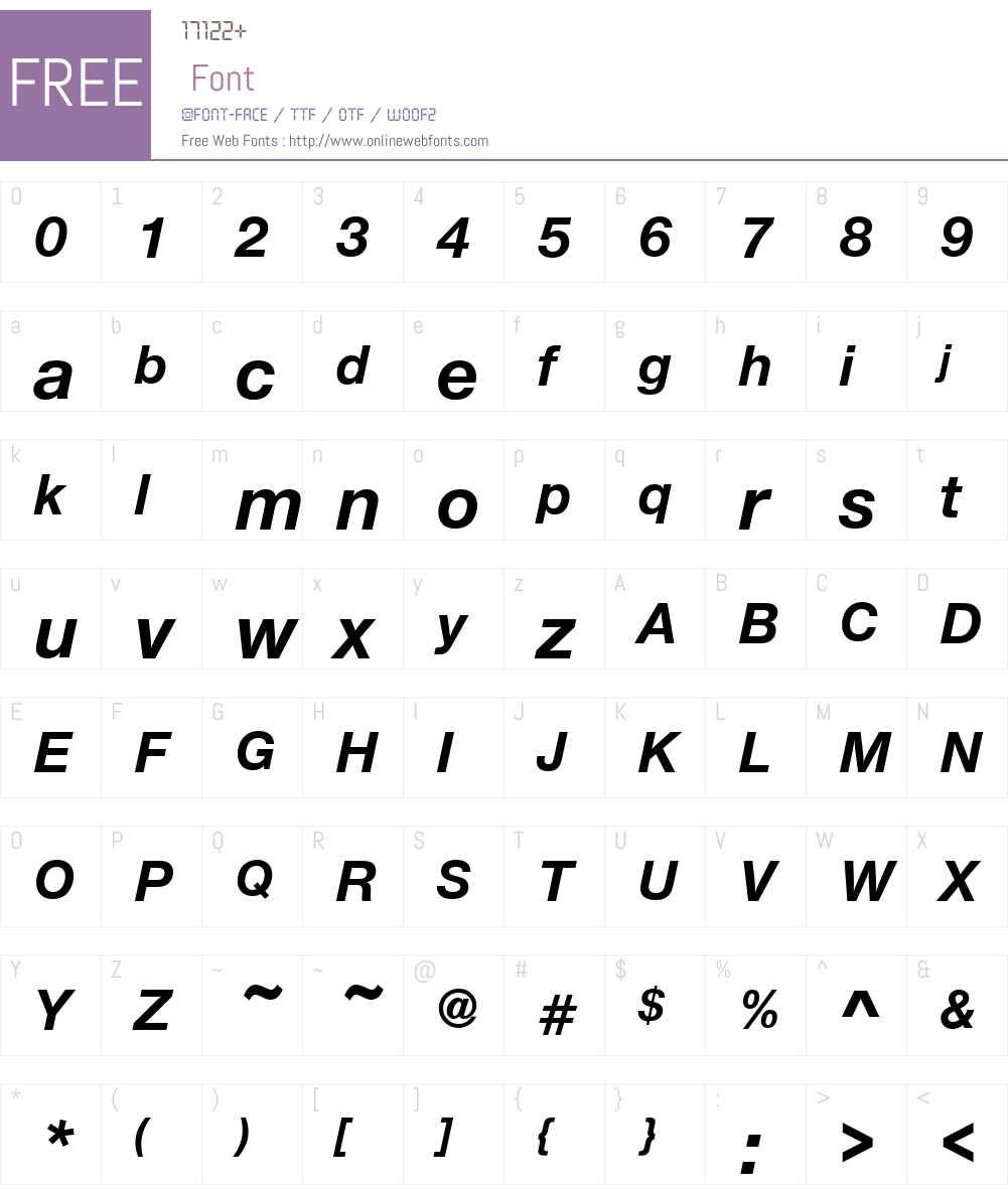 NimbusSanNovW00-BoldItalic Font Screenshots