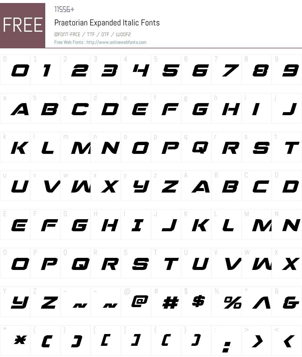 Praetorian Expanded Italic Font Screenshots