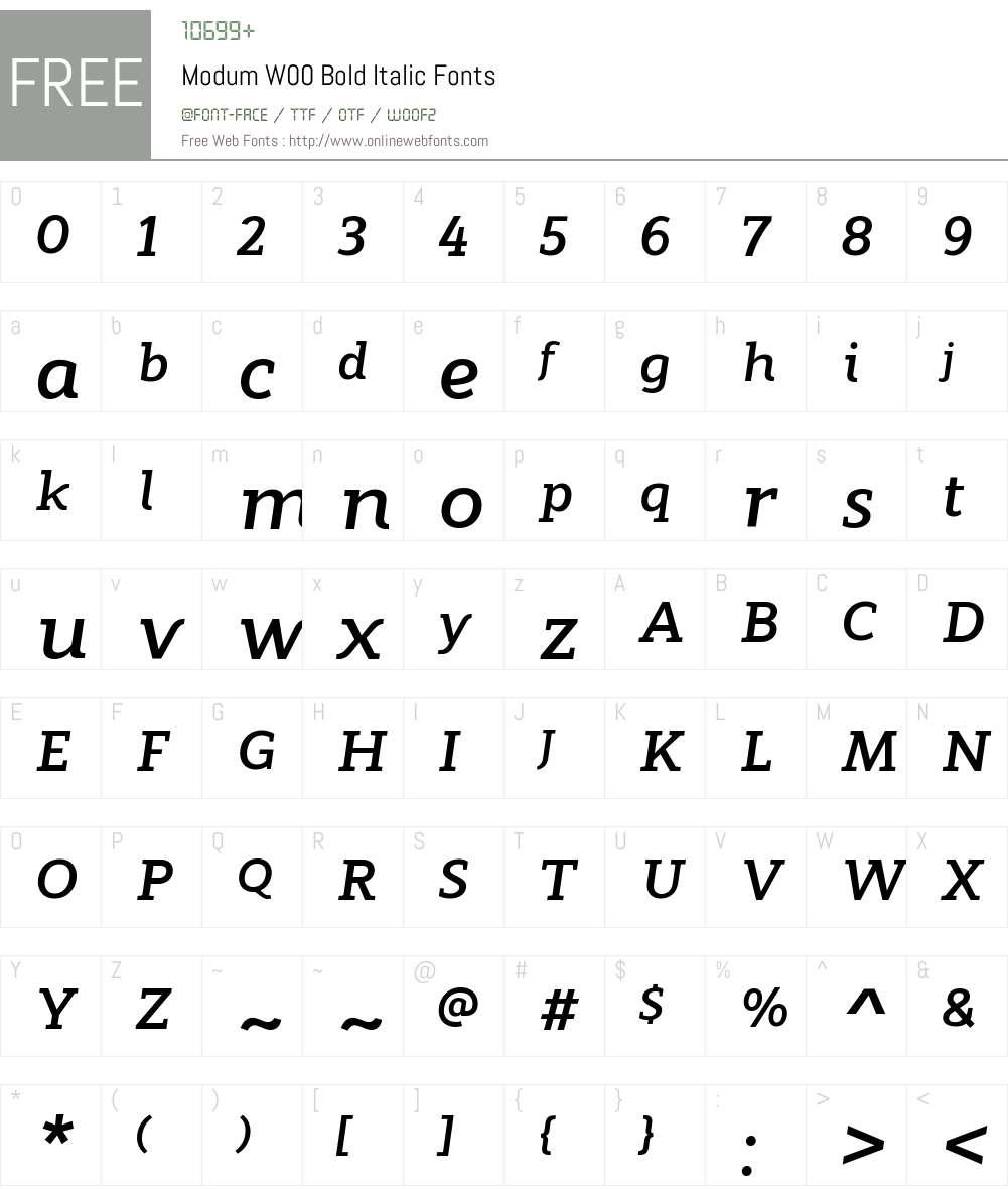 ModumW00-BoldItalic Font Screenshots