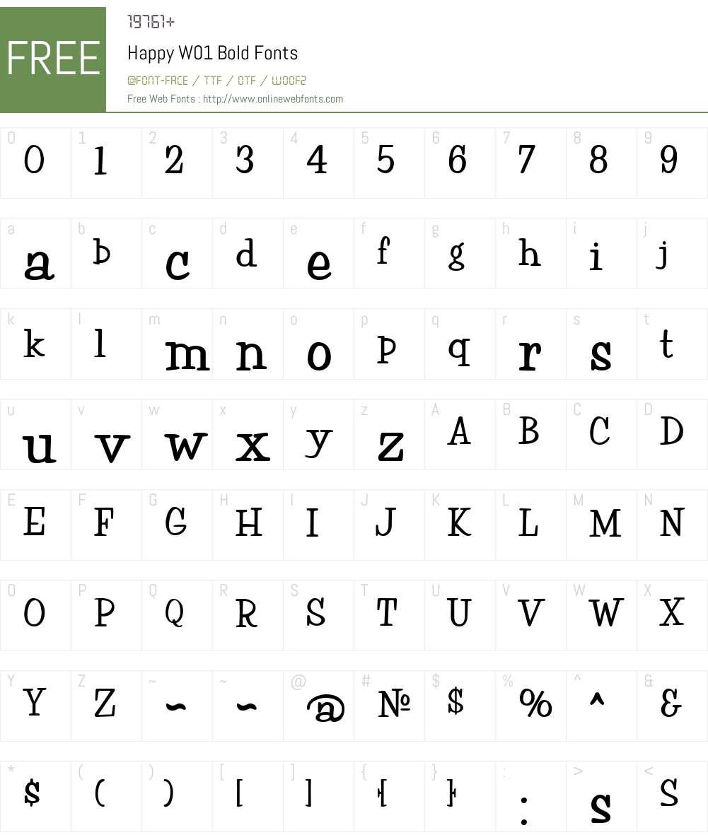 HappyW01-Bold Font Screenshots