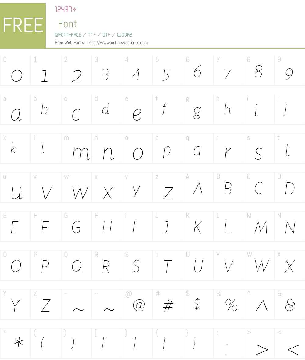 SensibilityW01-ThinItalic Font Screenshots