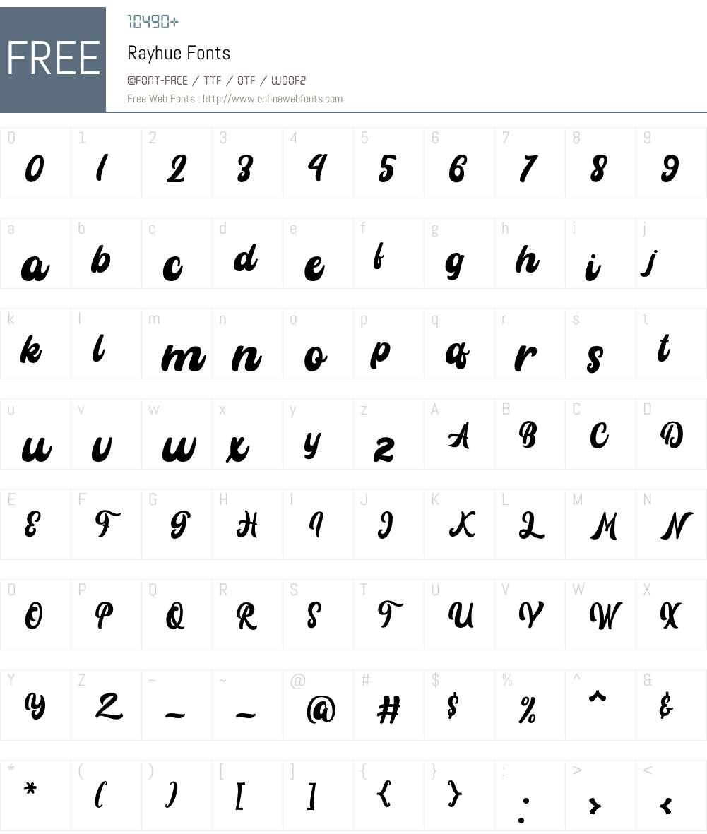 Rayhue Font Screenshots