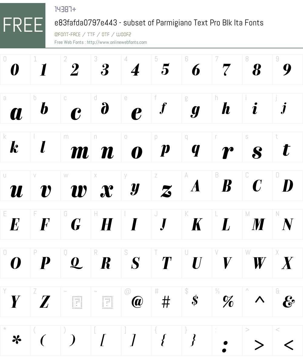 e83fafda0797e443 - subset of Parmigiano Text Pro Blk Font Screenshots