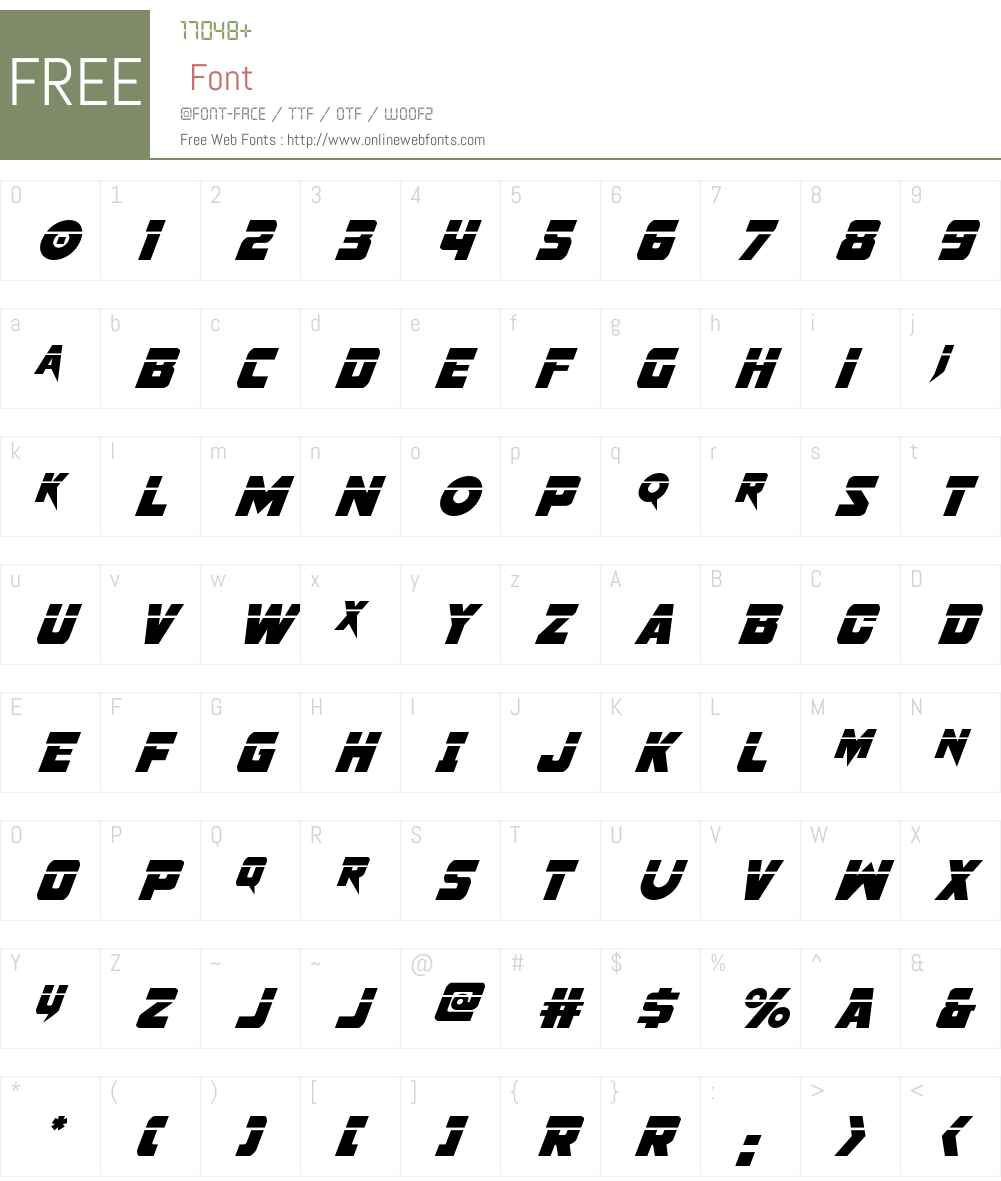 Pistoleer Laser Super-Italic Font Screenshots