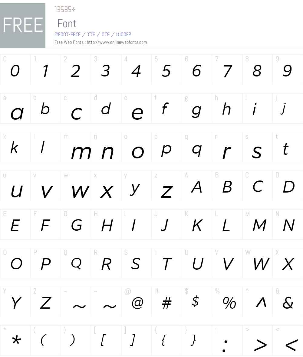EquipW03-LightItalic Font Screenshots