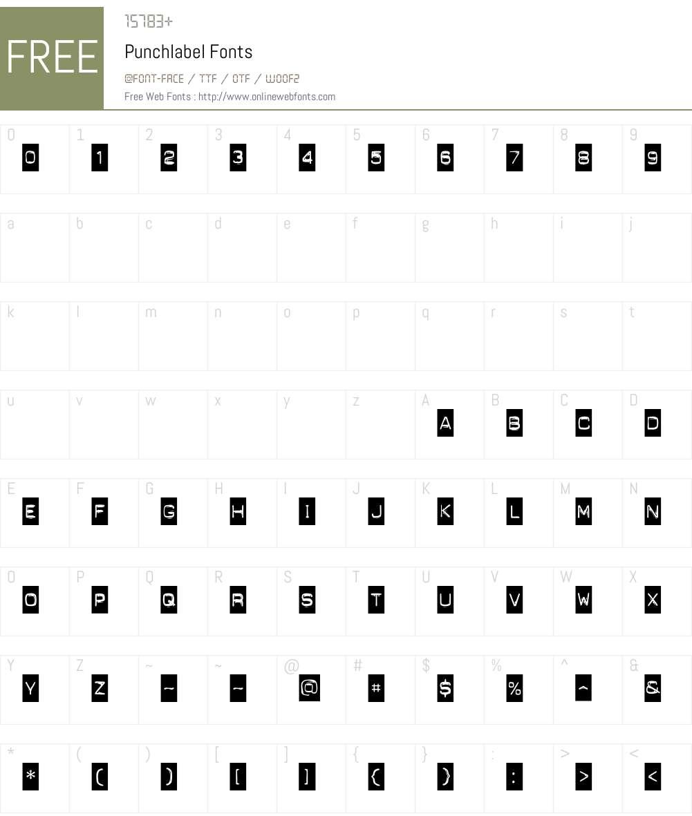 Punchlabel Font Screenshots