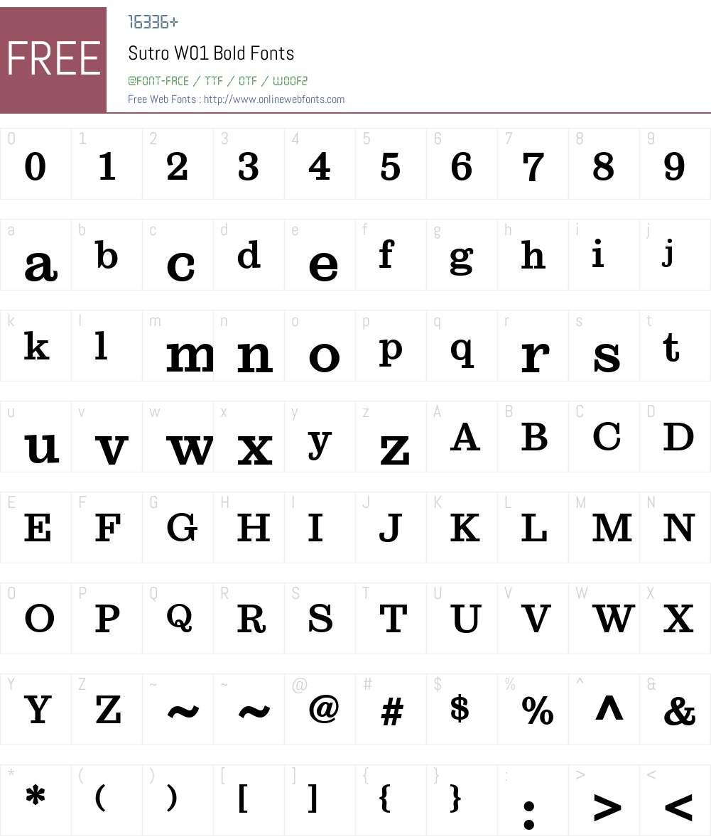 SutroW01-Bold Font Screenshots