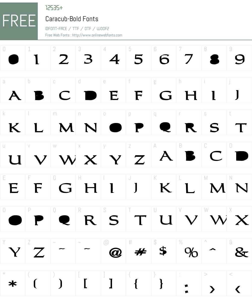 Caracub-Bold Font Screenshots