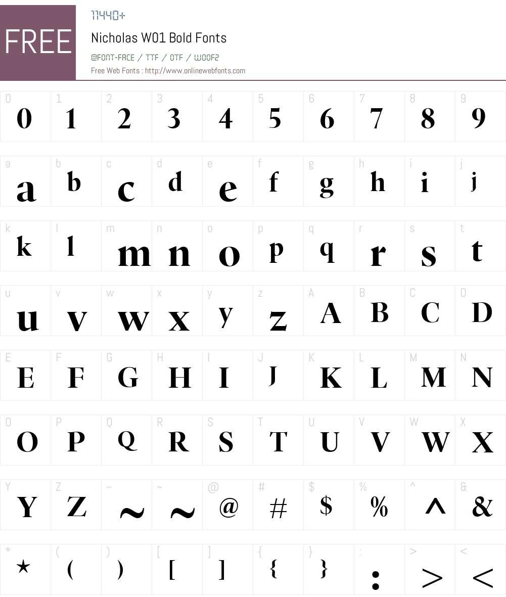 NicholasW01-Bold Font Screenshots