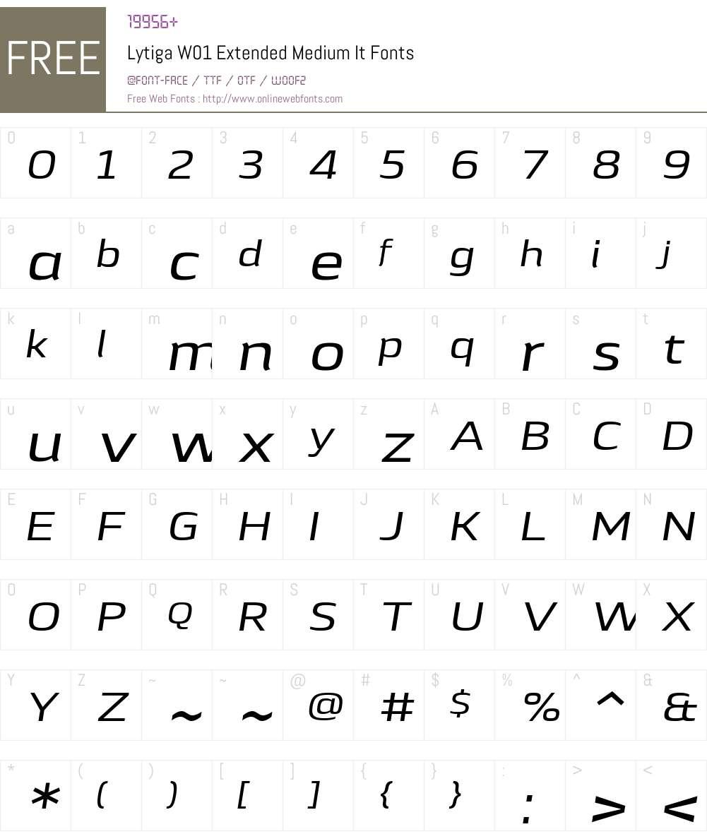LytigaW01-ExtendedMediumIt Font Screenshots