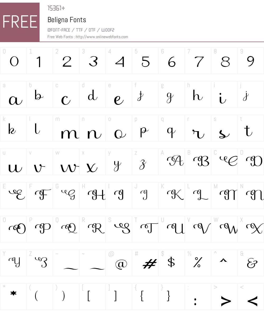 Beligna Font Screenshots
