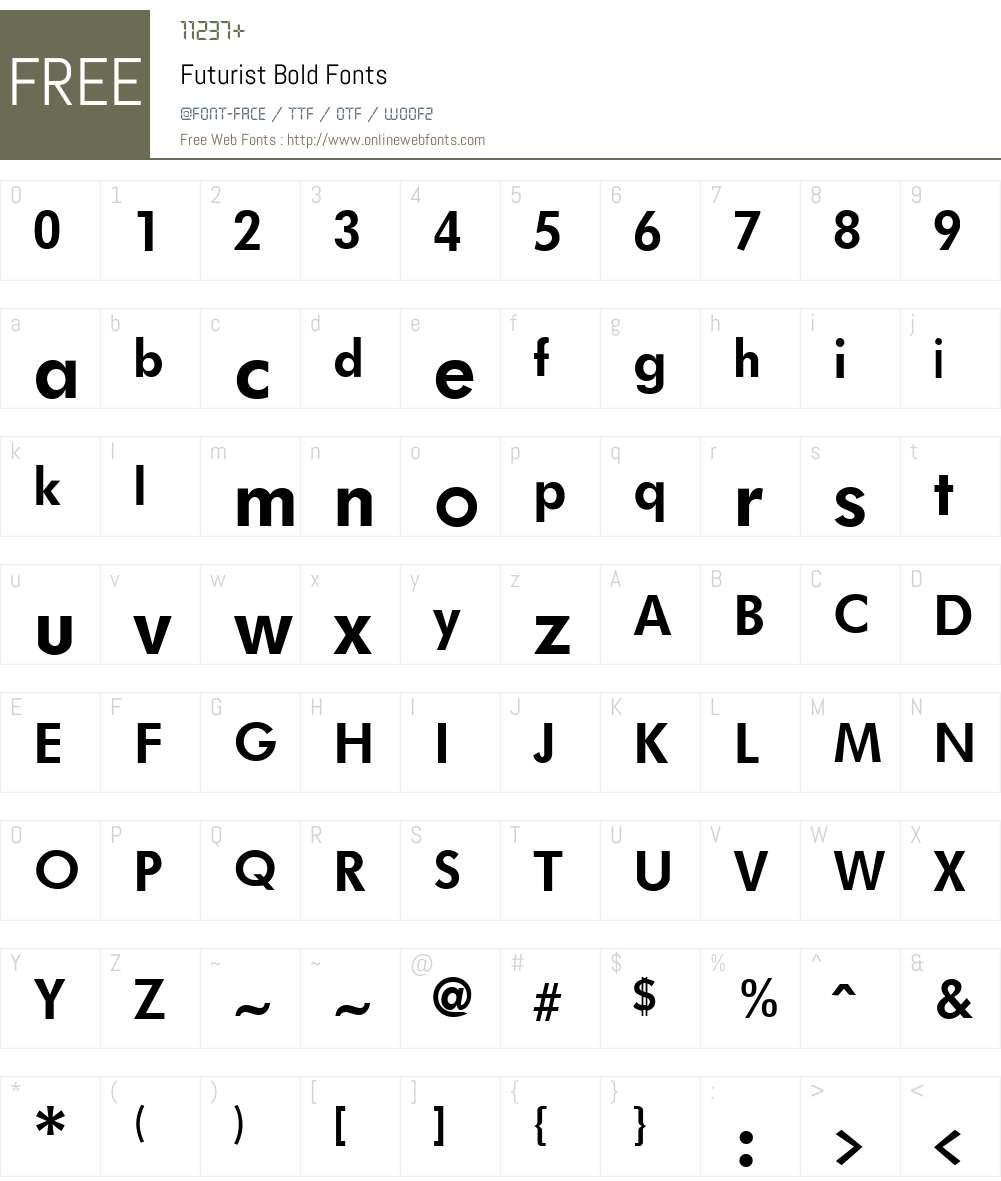 Futurist Font Screenshots
