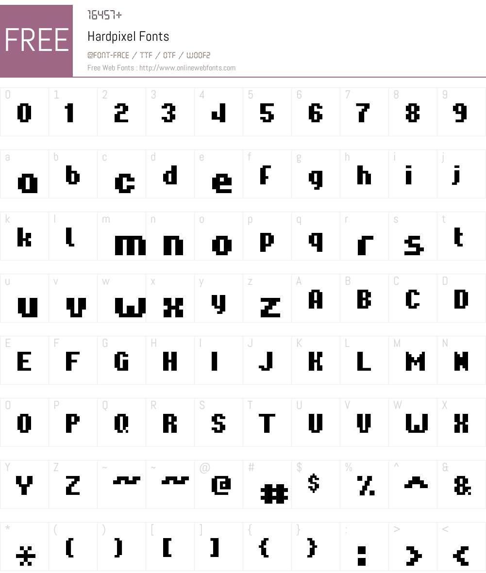 Hardpixel Font Screenshots