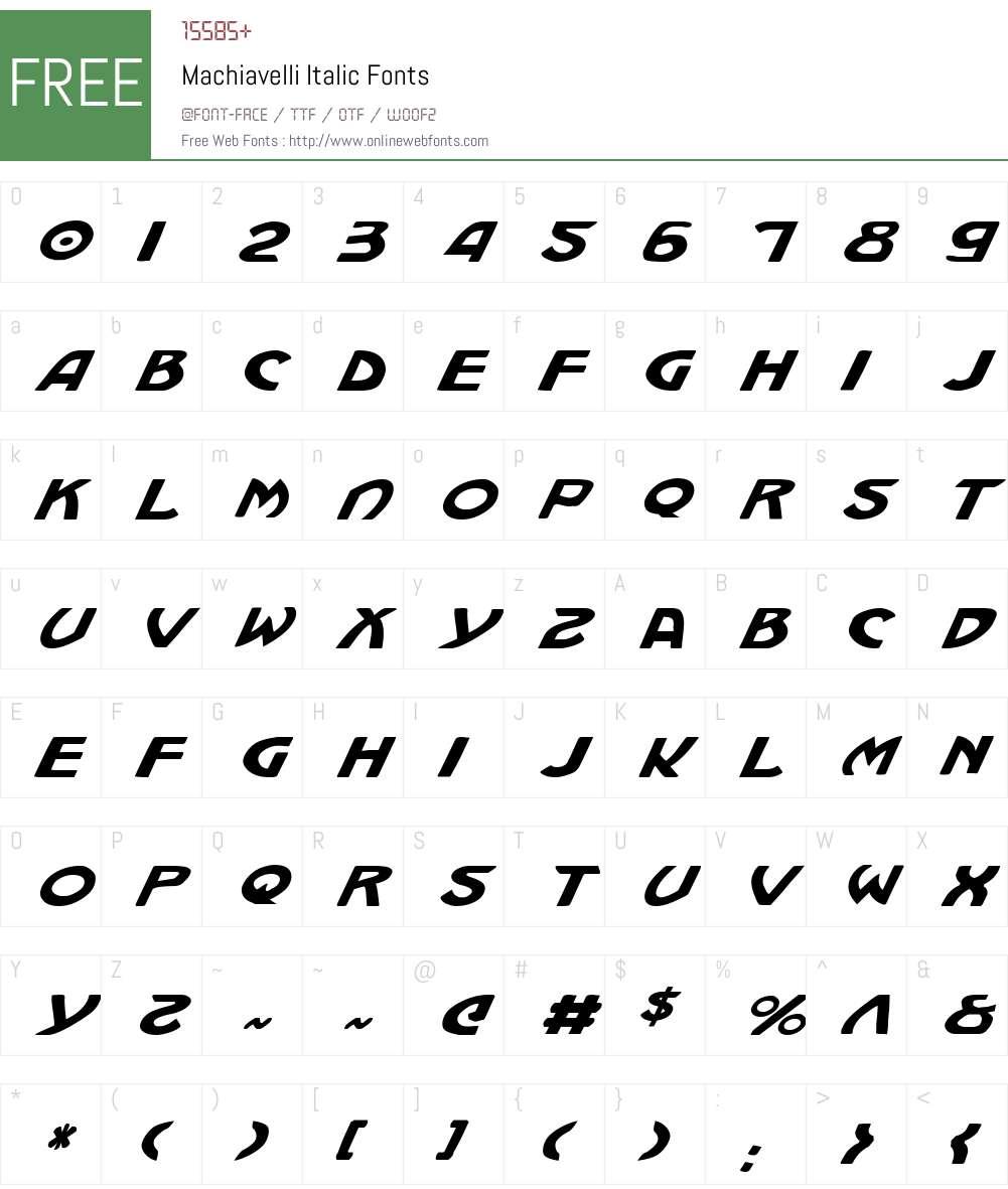 Machiavelli Italic Font Screenshots