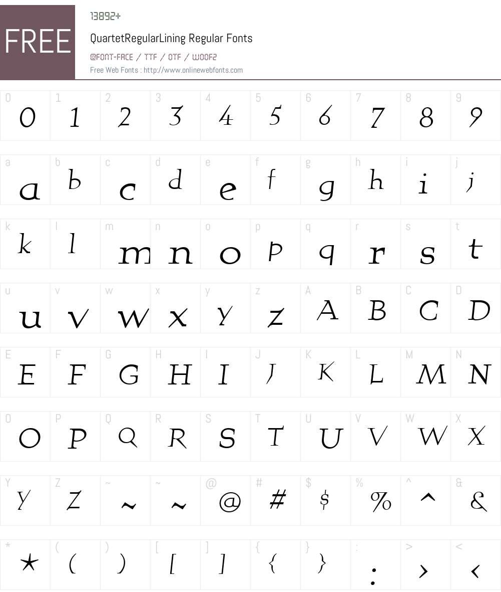 QuartetRegularLining Font Screenshots