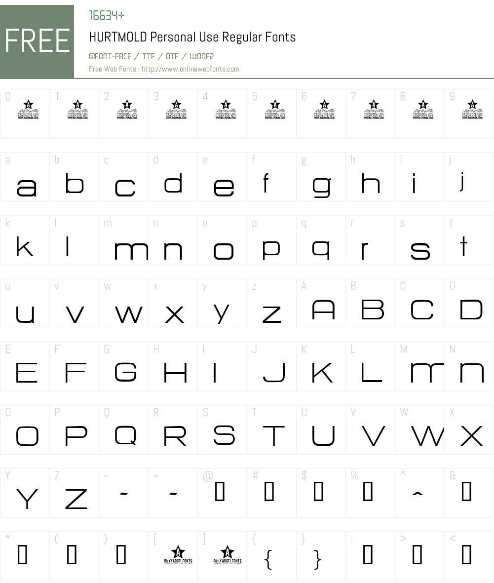 HURTMOLD Personal Use Font Screenshots