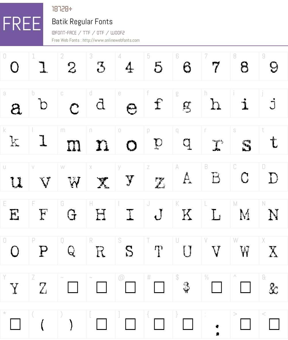 Batik Regular Font Screenshots