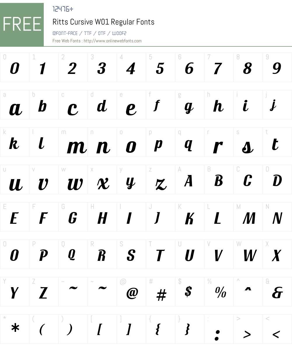 RittsCursiveW01-Regular Font Screenshots