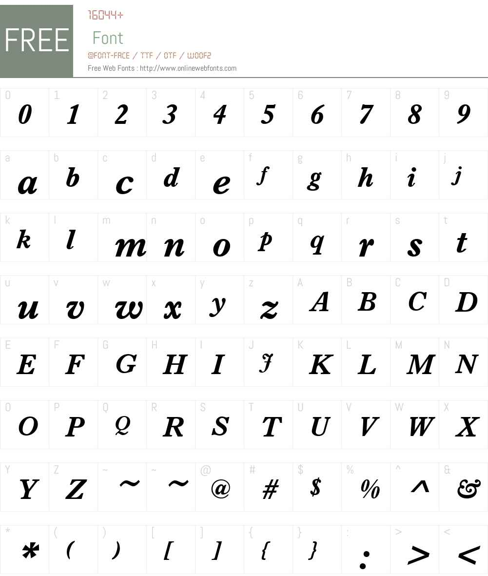 URWImprintW01-BoldItalic Font Screenshots