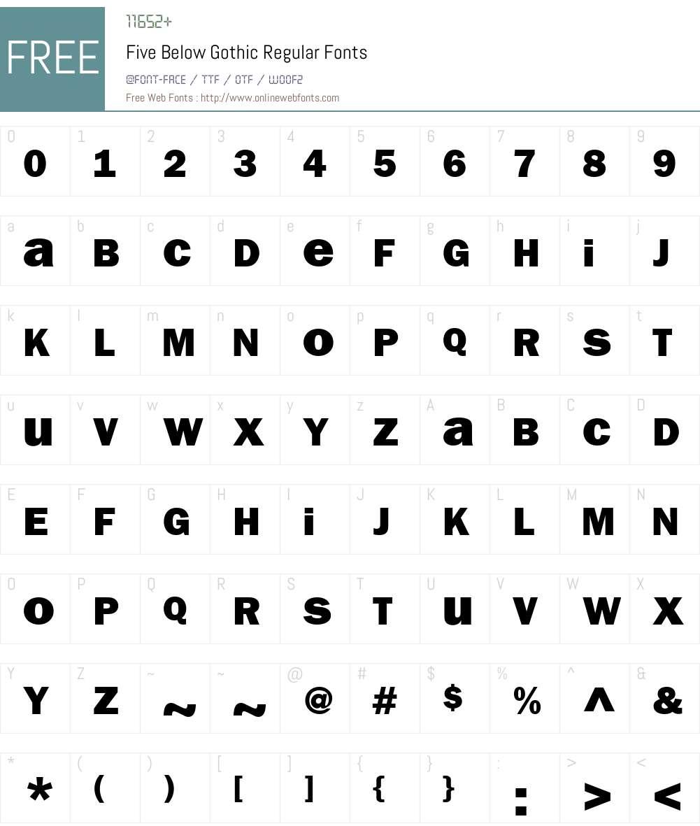 Five Below Gothic Font Screenshots